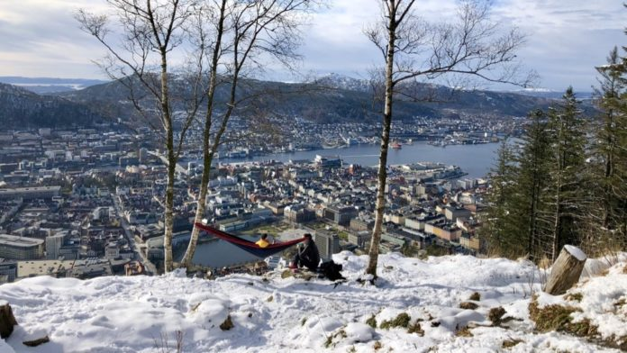 Norway Bergen - Hike to Mount Floyen, view from the Top of Floyen