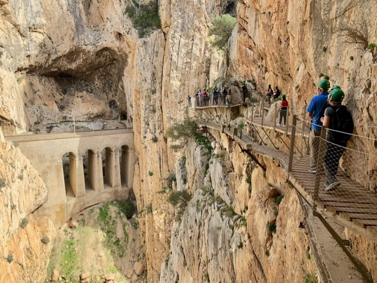Malaga Spain - On our way at the Caminito Del Rey trail at the steepest part